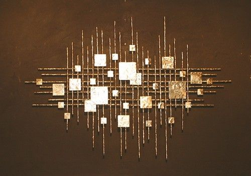 Abstract Metal Sculpture Wall Art Mid Century Brutal Gold Rods Eames Jere Sty | eBay