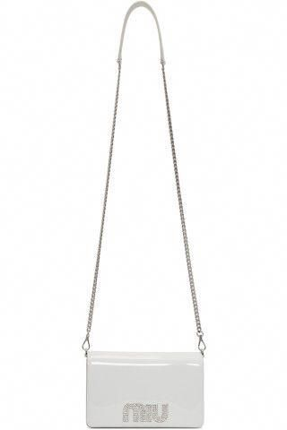 323fb32099d4 Miu Miu - White Patent Crystal Logo Bag  MiuMiu