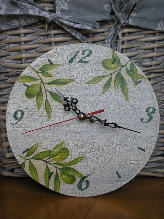 Handmade decoupage clock with olive motif by inaronia on Etsy, $25.00