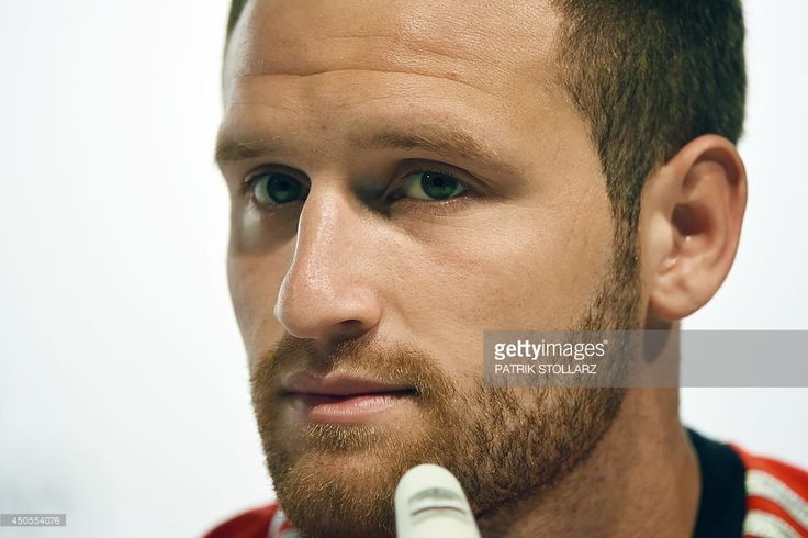 Germany's defender Shkodran Mustafi addresses a press conference of Germany's national football team in Santo Andre on June 13, 2014 during the 2014 FIFA Football World Cup.