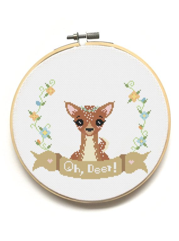 Oh, Deer! Modern Cross Stitch Pattern from The Pinprickery