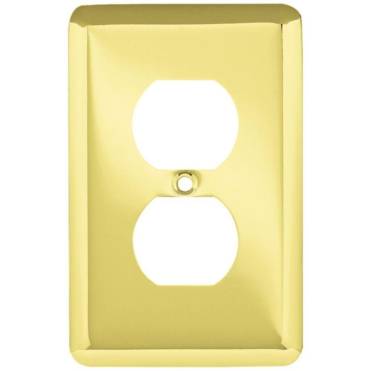 liberty stamped round 1 duplex outlet wall plate polished brass