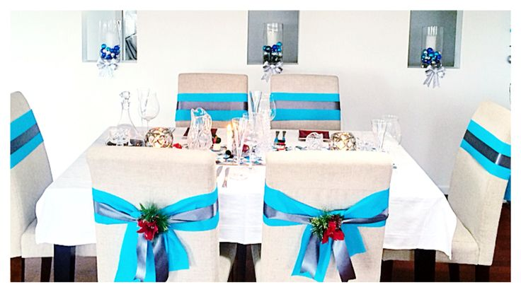 Christmas table decor Modern simple elegant blue and silver