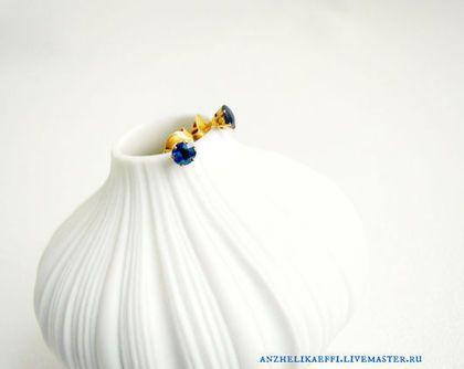 Золотые СЕРЬГИ Синий САПФИР натуральный Золото Гвоздики Сережки Пусеты -