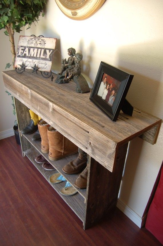 Large Console Table. Entry Table. Sofa Table. Raw Wood Table. 4 FOOT LONG. Recycled Wood Furniture Rustic Wood Furniture Country Home