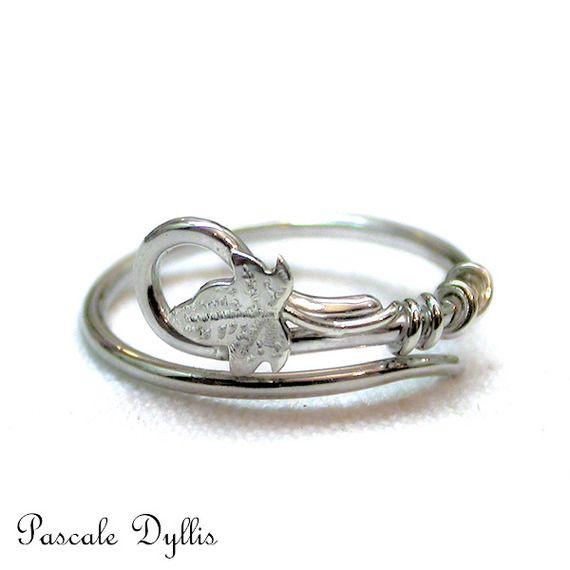 Bague anneau elfique ajustable feuille de lierre argent taille 50 et plus - Bague fine Fiançailles, Elfique, Féerique, Bohême,