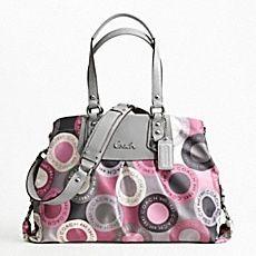 coach gray purse thil  Pink & gray coach purse