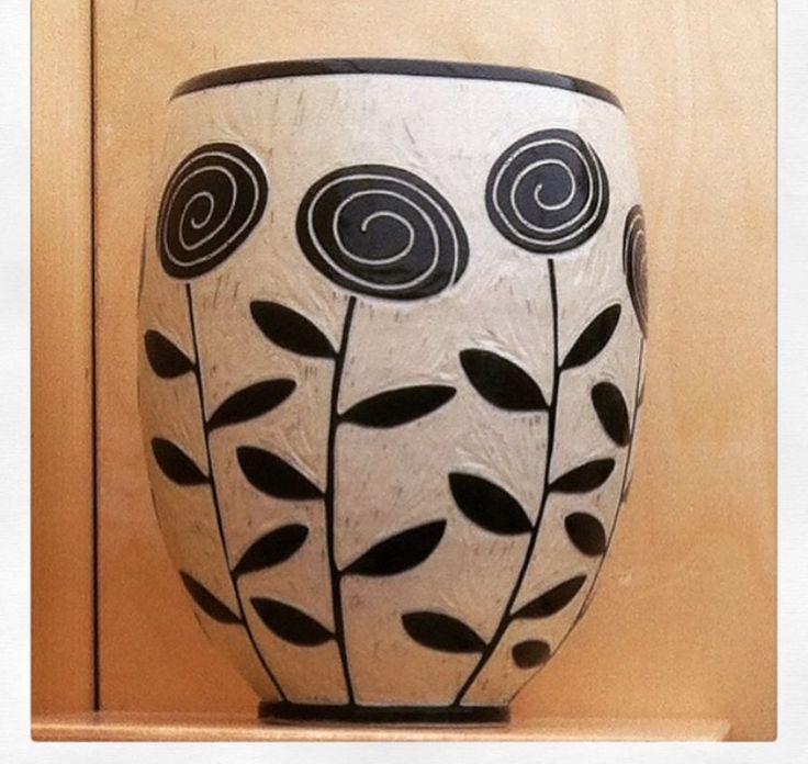Roses Vase by Jennifer Falter Sgraffito on porcelain www.springfieldpottery.com