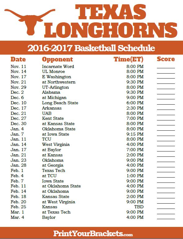 Texas Longhorns 2016-2017 College Basketball Schedule