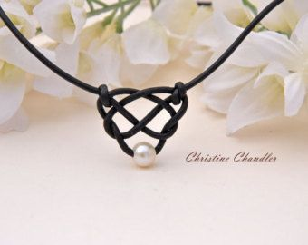 Pearl and Leather Necklace 5 Pearl Brown by ChristineChandler
