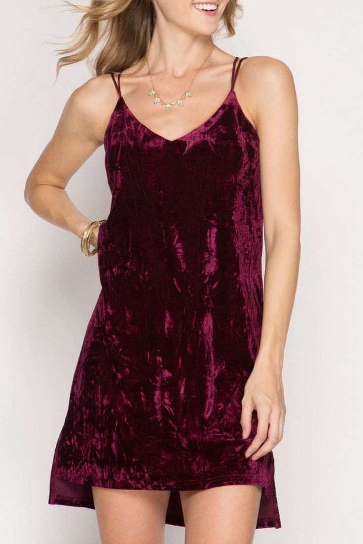 Rich cabernet crushed velvet slip dress is fully lined. Spaghetti strap with a criss-cross back and two side slits at hem for ease of movement. Perfect little dress for a night on the town.   Velvet Slip Dress by She + Sky. Clothing - Dresses - Slip Wyckoff, New Jersey