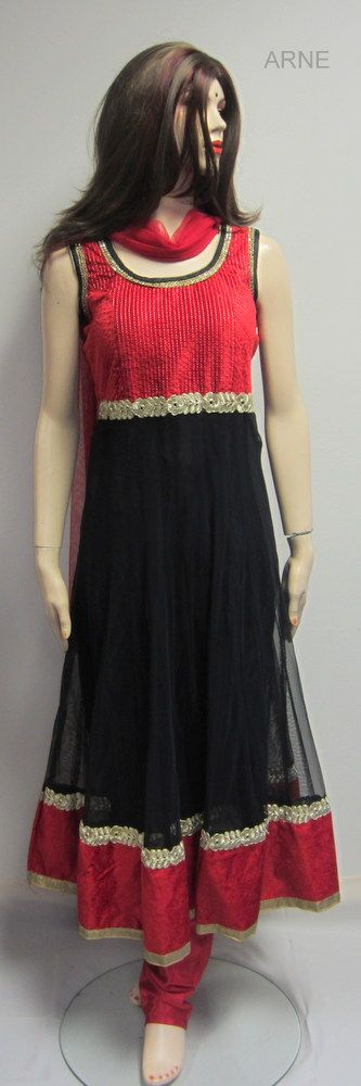 Size 42  -Long Black Net Anarkali   - Sleeves attahed  - Red Net dupatta and Red chudidar