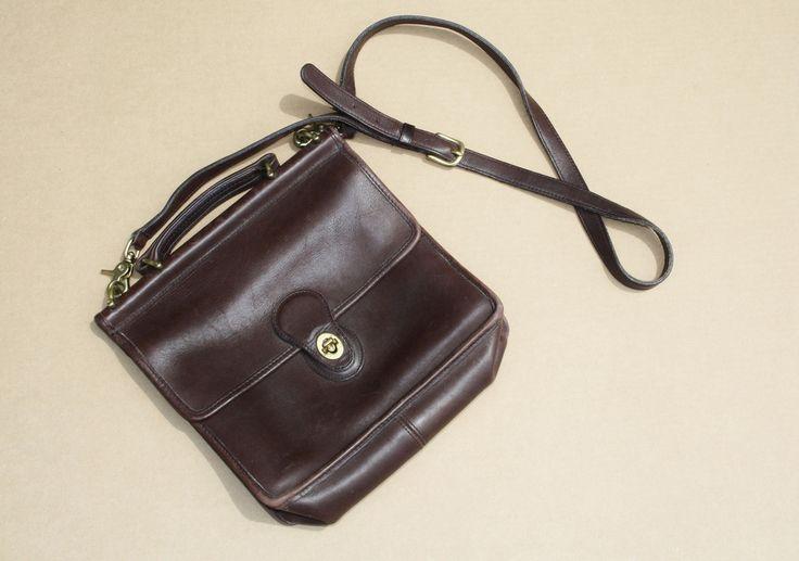 1970s Chocolate Brown Leather Coach Vintage Designer Crossbody Satchel Bag