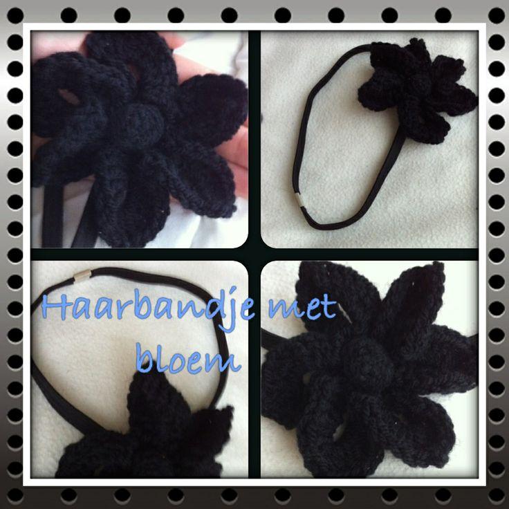 Elastic headband with crocheted black flower !   Elastieken haarband met gehaakte zwarte bloem ! Gemaakt voor de dochter van mijn collega