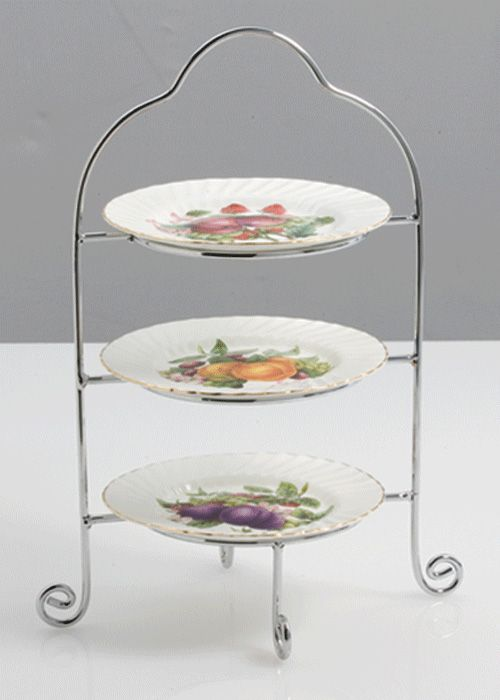 Silver Plate 3 Tier Tray Used For Serving Afternoon Tea