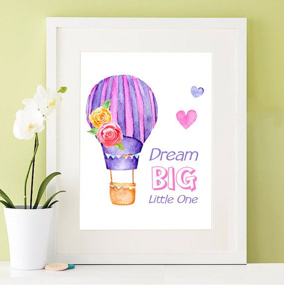 Nursey Wall Art Newborn Baby Gift for a Baby Girl - Downloadable Print - Hot Air Balloon with Quote: Dream Big Little One