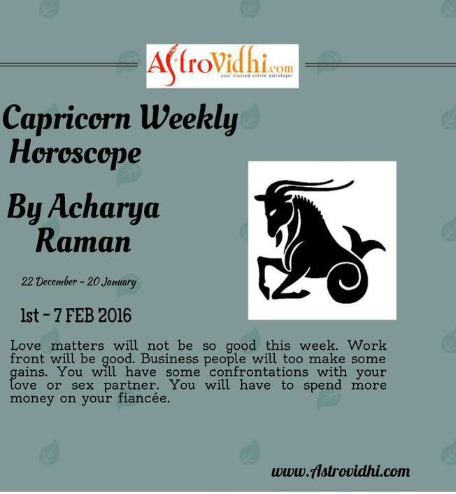 Check your Capricorn weekly Horoscope ( from 1 to 7 Feb 2016 ) and plan your full week accordingly.
