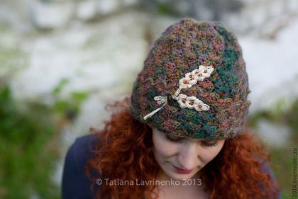 """Шапка """"Ирландский виски"""" - цветочный,шапка,шапка вязаная,шапка на осень"""