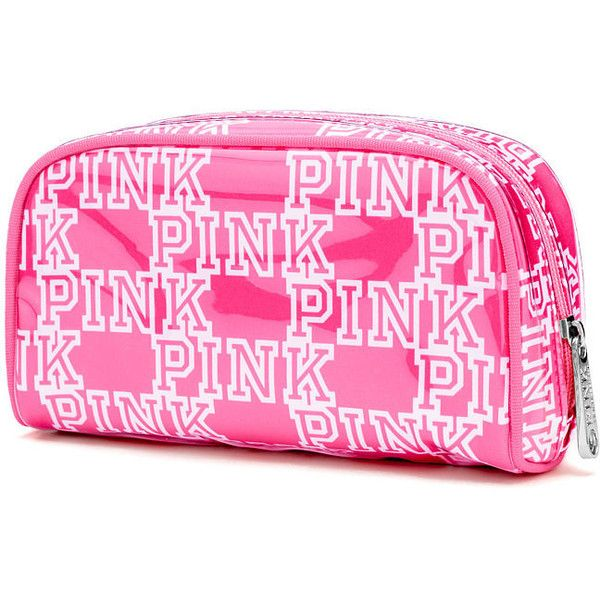 Victoria's Secret PINK Small Makeup Bag (325 MXN) ❤ liked on Polyvore featuring beauty products, beauty accessories, bags & cases, pink, cosmetic bag, make up bag, travel bag, makeup purse and pink makeup bag