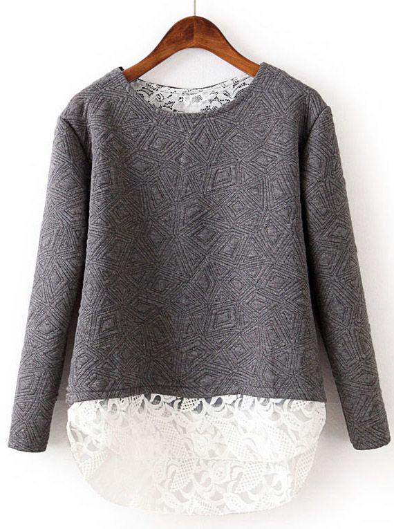 Grey Contrast Lace Geometric Pattern Sweatshirt EUR€18.97