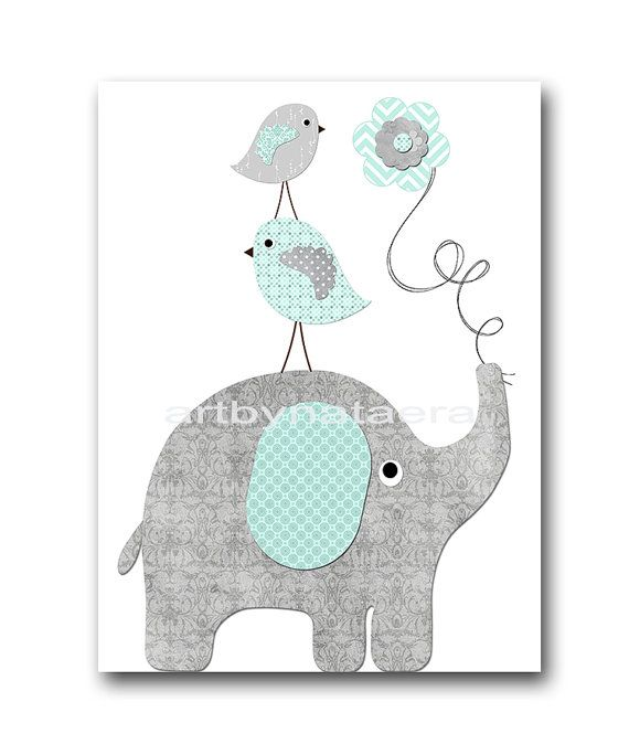 Baby Boy Nursery Decor Art Kids Art Kids Room By Galerieanais: Elephant Bird Gray Mint Instant Download Art Baby Boy