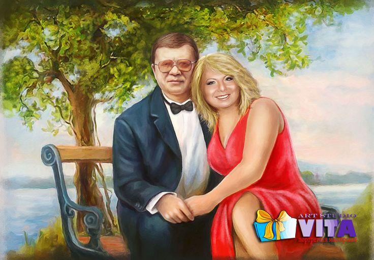 Цифровой портрет Парочка на лавочке   Наш сайт http://gallerr.ru Заказать http://gallerr.ru/fzakaza2 По вопросам пишите в личку