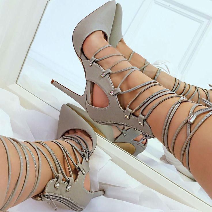 Pointed Closed Toe Lace up Heels