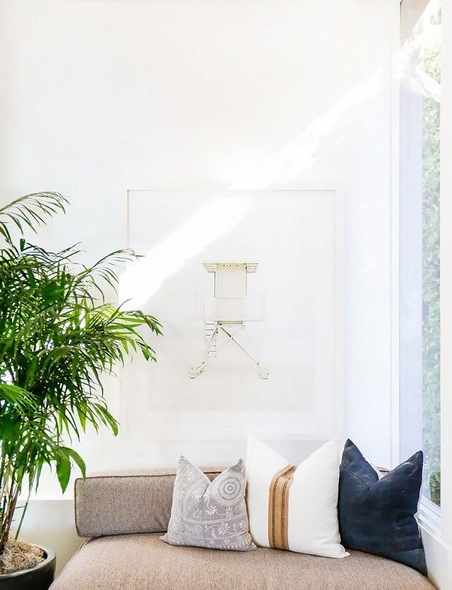 Living space with a light brown sofa, mismatch throw pillows, and a large plant