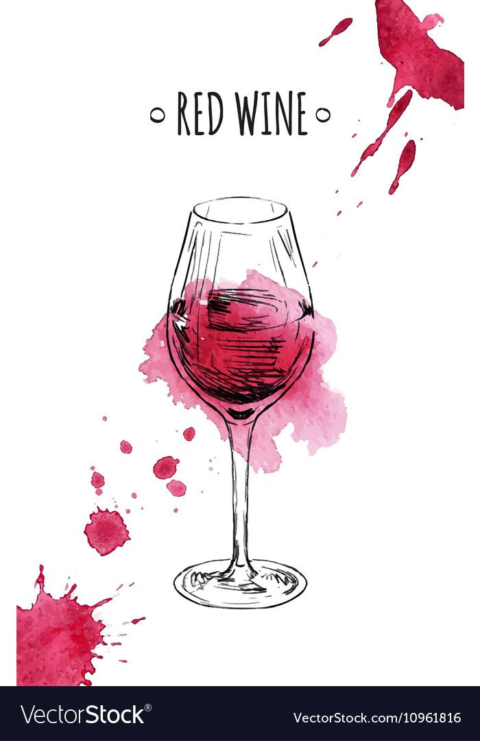Glass Of Red Wine Hand Drawn Vector Sketch Watercolor Stains Download A Free Preview Or High Quality Adobe Illustr Wine Painting Wine Glass Drawing Wine Art