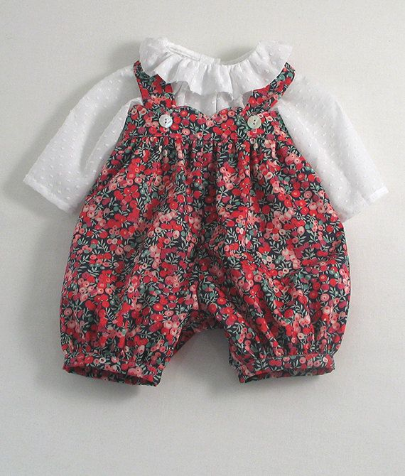Cute pink Liberty Wiltshire Berries scallop dungarees and dotted Swiss blouse for baby girls!    Mid-calf length gathered dungarees with a