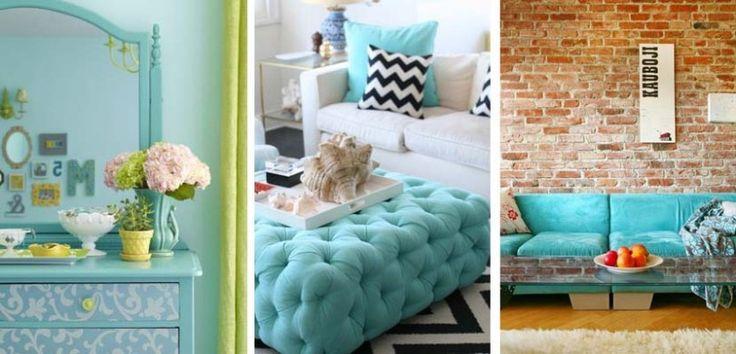 Yesil Turkaz ve Koyu mavi ev dekorasyon renkleri