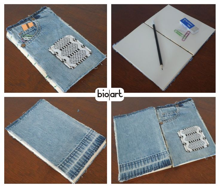 Cuaderno media carta artesanal forrado en jeans