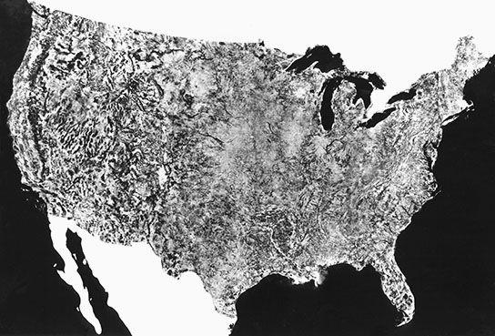 Landsat mosaic aerial photo of the contiguous United States, 1974