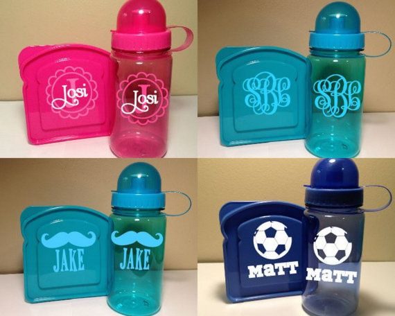 Kids' Water Bottle and Sandwich Container by delightdesignsvinyl, $10.00