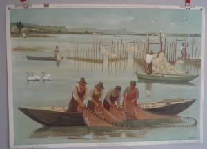 Schulwandbild Nummer 18, Fischerei am Bodensee (Untersee) , Hans Haefliger.