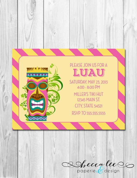 Luau Hawaiian Tiki Theme Party Invitation By BeccaLeePaperie
