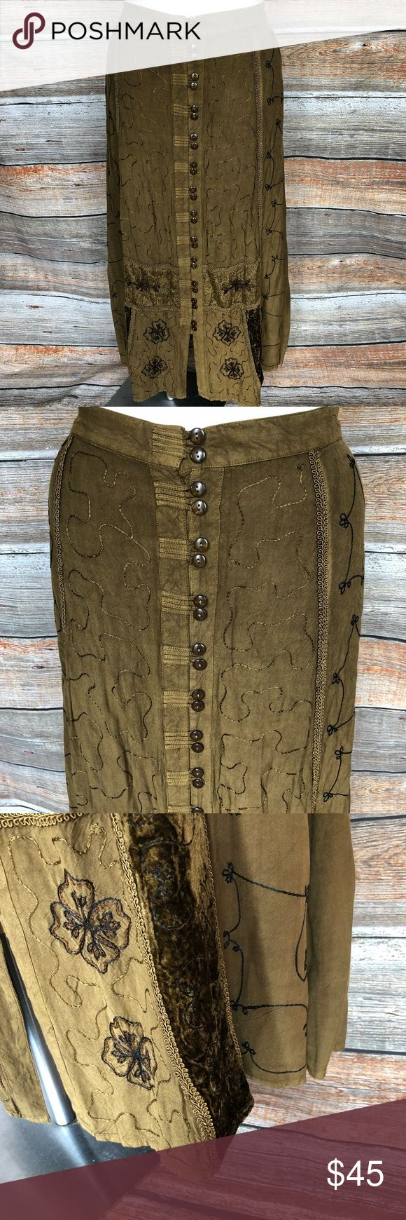 """Plus Boho Hippie Gypsy long skirt Just Stunning is this long boho skirt in a deep olive green color. Lots of attention to detail, as pictured.  Embroidery and velvet!  Plus size 3x, but it will accommodate a 1x and 2x too, seeing as the back is elastic.    Waist:40""""-44"""" Length:38""""  Smoke/Pet free home No flaws! Speed Limit Skirts A-Line or Full"""