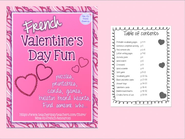 These French puzzles, printables, and speaking activities are just what you need during the hard to teach winter! Activities require NO PREP from you, and are great for building a Valentine's unit, adding enrichment for fast workers, or for having a little bit of fun in class.