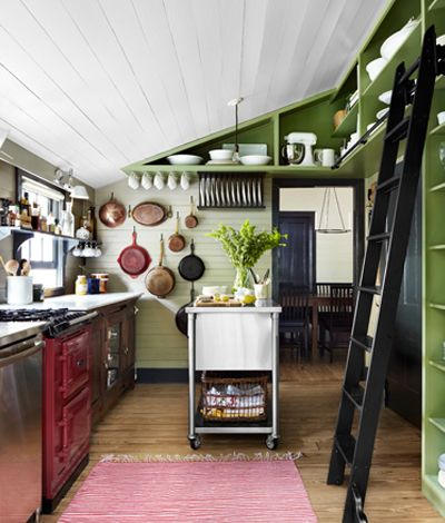 Slanted Ceiling Kitchen With Ladder Shelving