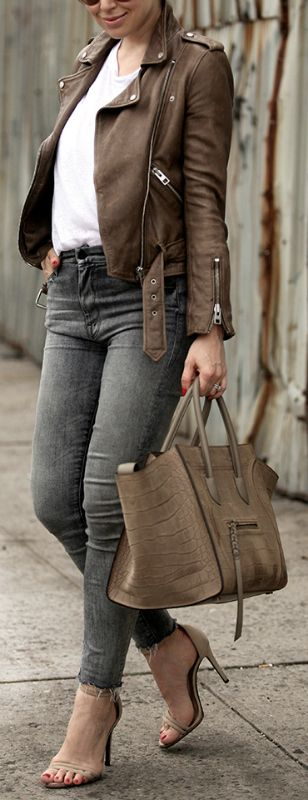 Helena Glazer + brown leather jacket look + simple white tee + distressed acid wash skinny jeans + edgy chic style + either heels or sneakers + authentic summer style.   Leather Jacket: All Saints, Tee: CHRLDR, Denim: Mother, Shoes: Schutz, Bag: Celine.