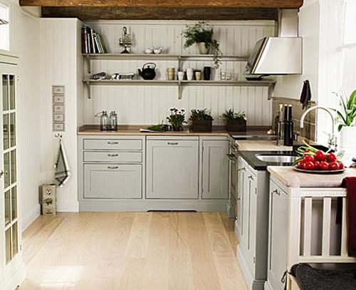 traditional scandinavian kitchen design. gray cabinetry, wide panel backsplash, open shelves