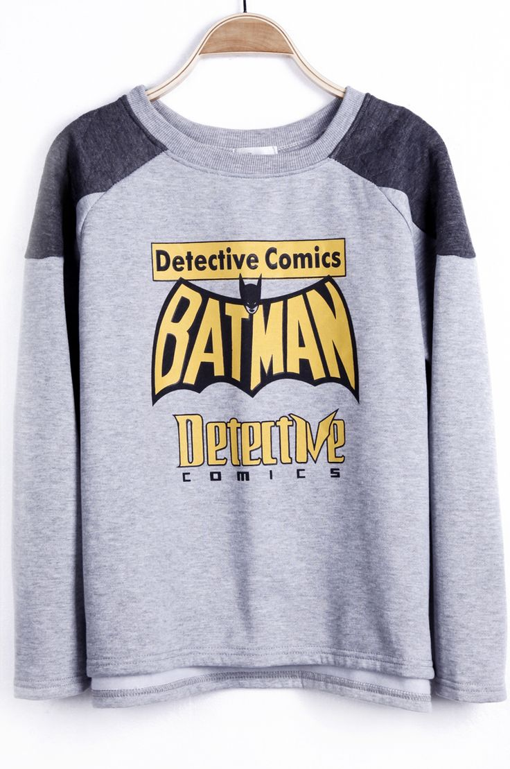 #SheInside Grey Reglan Sleeve BATMAN Detective Comics Asymmetric Hem Sweatshirt