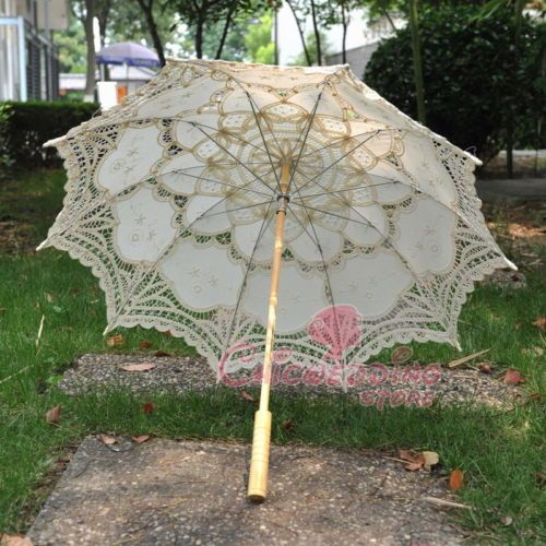 New-Ivory-Lace-Cotton-Embroidery-Wedding-Umbrella-Sun-Parasol-Bridal-Accessory $22.99