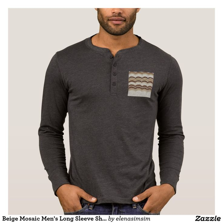 Beige Mosaic Men's Long Sleeve Shirt