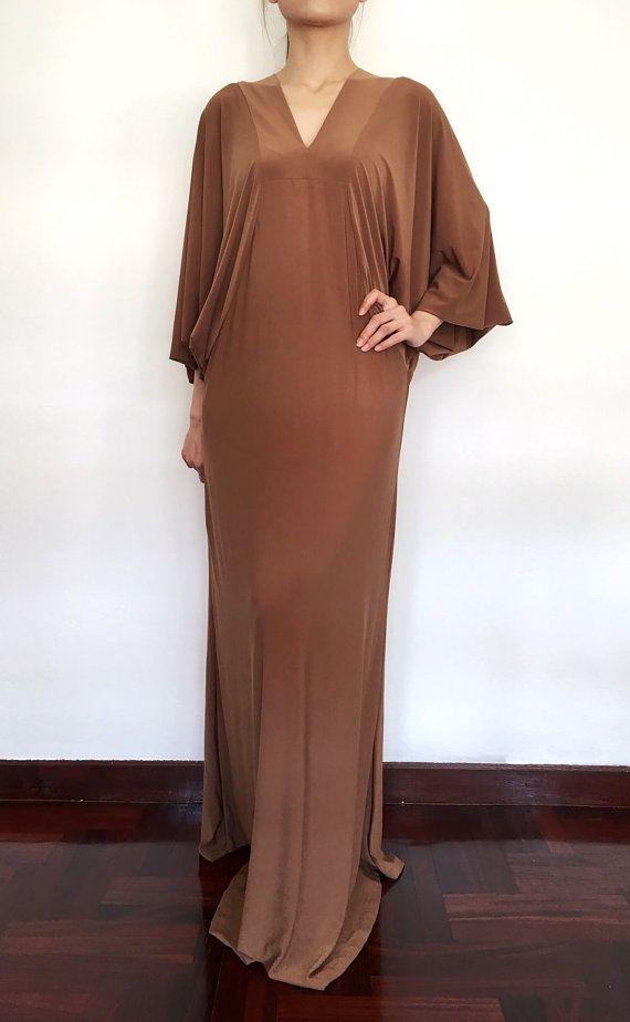 Plus Size Long Wide Sleeve Brown Maxi Dress by MaxiDressWardrobe