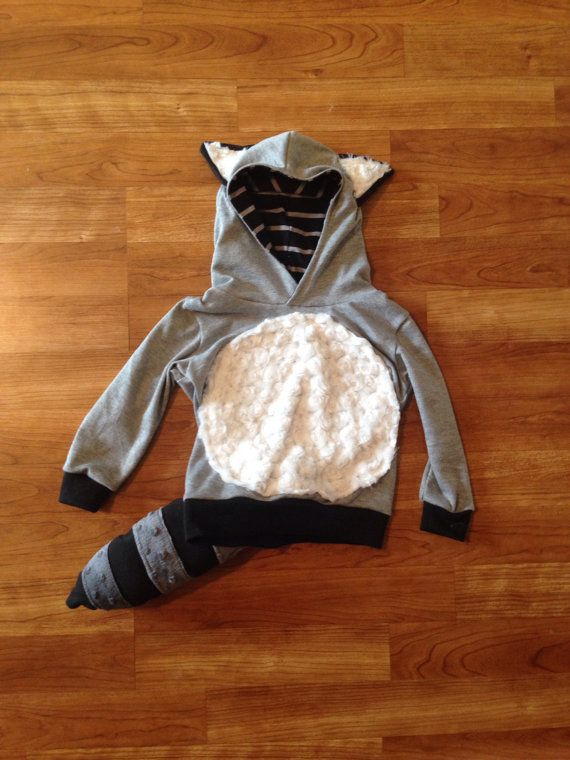 Raccoon Hoodie Raccoon Outfit Halloween outfit baby by Nooches