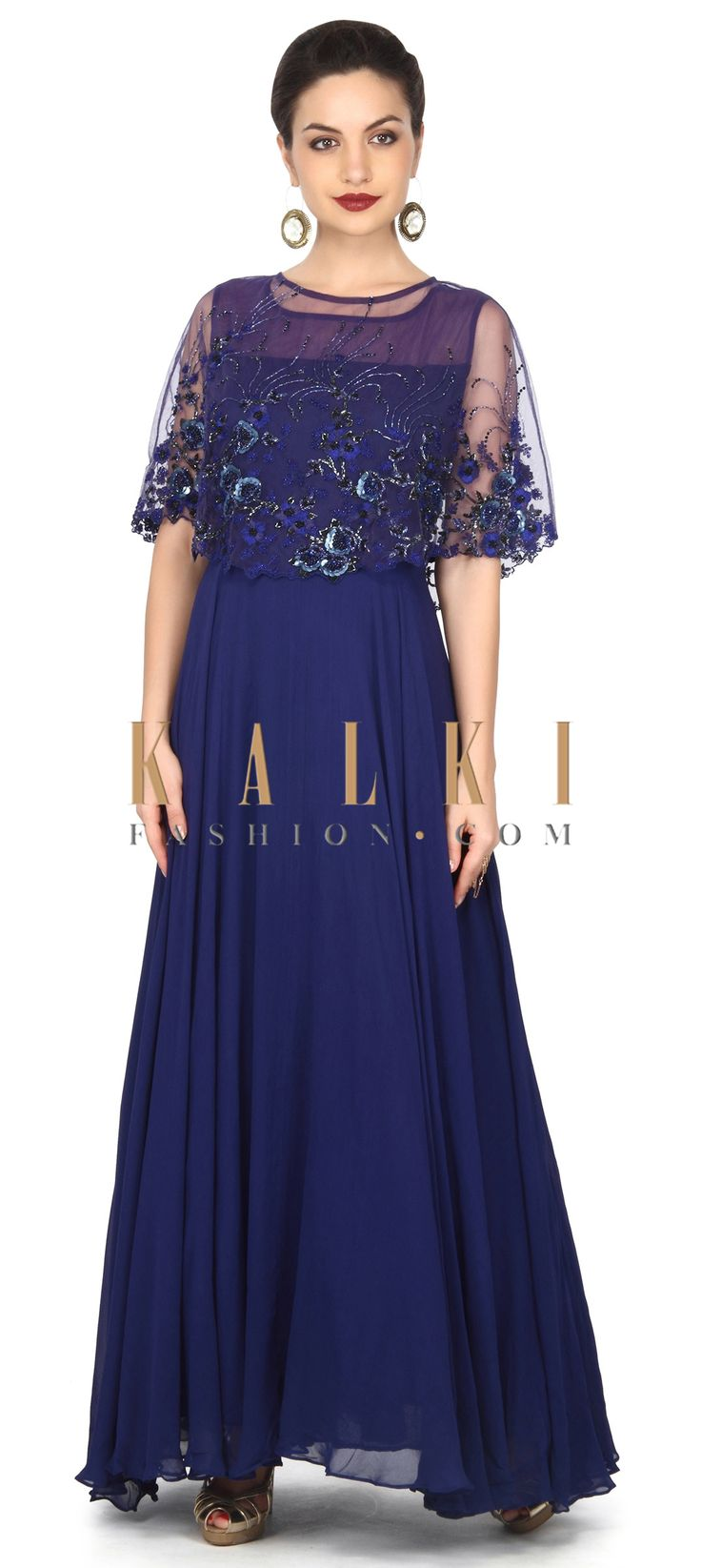 Buy this Navy blue cape with embroidered gown only on Kalki