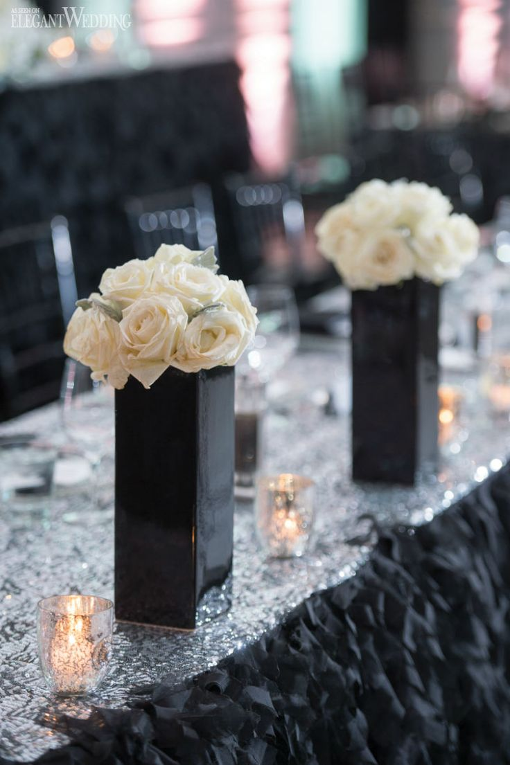 "Wedding ideas for a Black & White Themed wedding Toronto wedding planner Fab Fête Event Planning Boutique brought bride Alyssa's vision of luxury to life with glamorous, sexy and ""Fancy"" decor for her wedding to high school sweetheart Vincent. Black and white were the primary colours used, a combination of high and low centrepieces with white …"