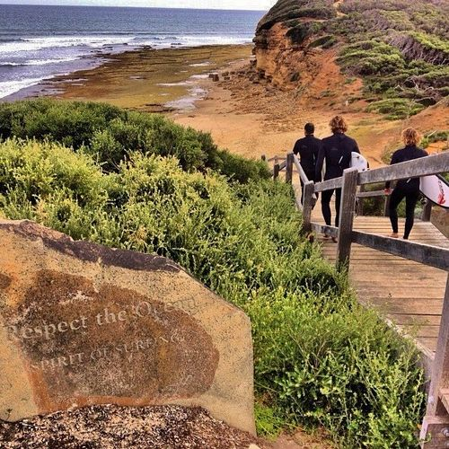 """We need something like this at Middleton, what do you say Local Council? The inscription on the rock reads: """"Respect the Ocean & The Spirit of Surfing"""" LOVE IT"""