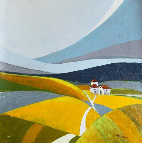 Another day on the farm - Acrylic landscape painting on heavy paper